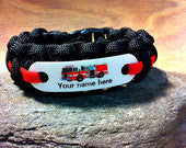 Fire Truck bracelet  future firefighter name bracelet
