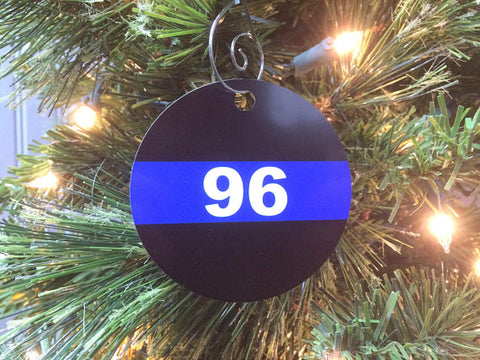 Police Badge Number Christmas Tree Ornament