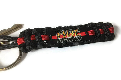 Firefighter Flames Thin Red Line Key Chain