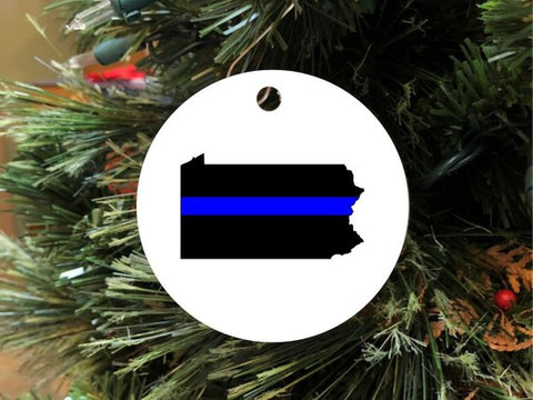 Law Enforcement Thin Blue Line Christmas Ornament - Choose Your State!