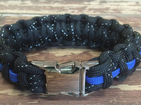Upgrade for reflective paracord and a metal side release buckle for your bracelet purchase