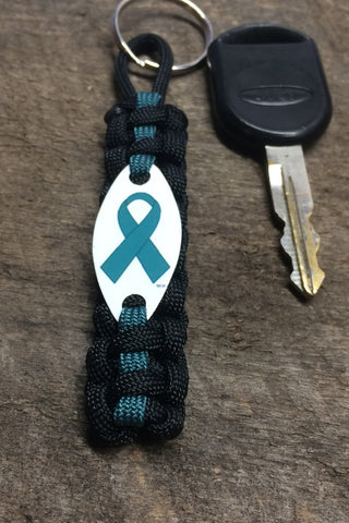 Ribbon Awareness - Teal Paracord keychain for Food Allergies, ovarian, cervical, & uterine cancers