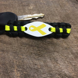 Ribbon Awareness - Military Support, Yellow Awareness Ribbon, Paracord keychain for Liver Cancer, Spina Bifida and more