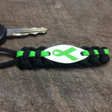 Ribbon Awareness - Lymphoma, Lime Green Ribbon Awareness paracord keychain