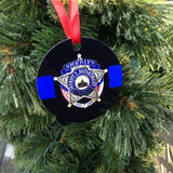 Custom Thin Blue Line Police Ornament personalized with your badge image or use our stock image