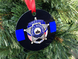 Customized Thin Blue Line Police Ornament with badge, Personalize with your badge image or use our stock image