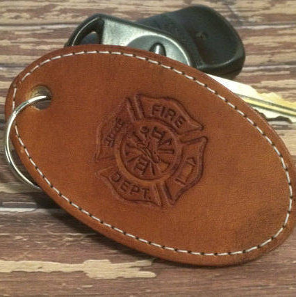 Handmade Leather Firefighter keychain