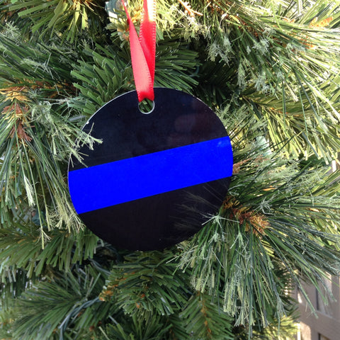 Thin Blue Line Police Officer Ornament, Personalize up to 3 lines of text