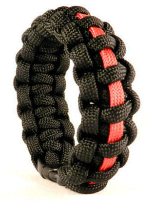 Firefighter Rescue Thin Red Line Black Paracord Survival Bracelet with Buckle Closure Paracord Memorial Bracelet Fallen Hero