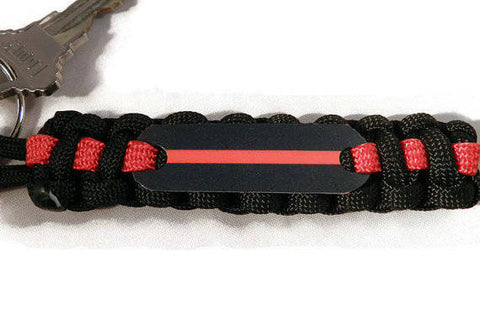 Personalized Thin Red Line Paracord Key Chain