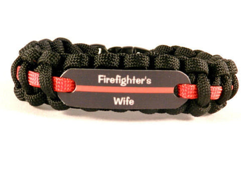 Firefighter Significant Other Thin Red Line Paracord Bracelet