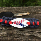 Ribbon Awareness - American Flag Ribbon Paracord Keychain