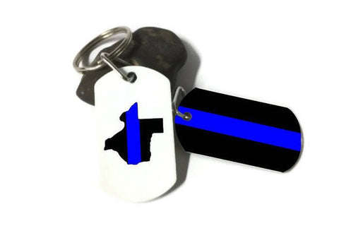 Law Enforcement Thin Blue Line Keychain - Choose Your State!