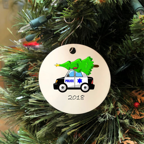 2018 Police Car with Christmas Tree Ornament