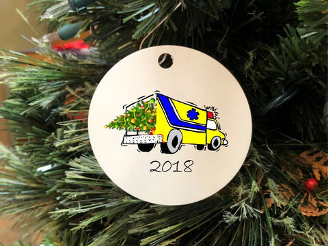2018 Ambulance Christmas Ornament