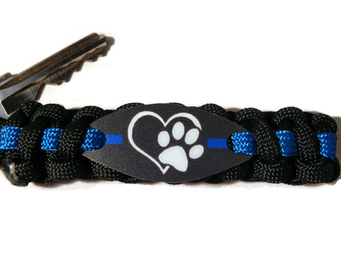 K9 Officer Thin Blue Line Paracord Keychain