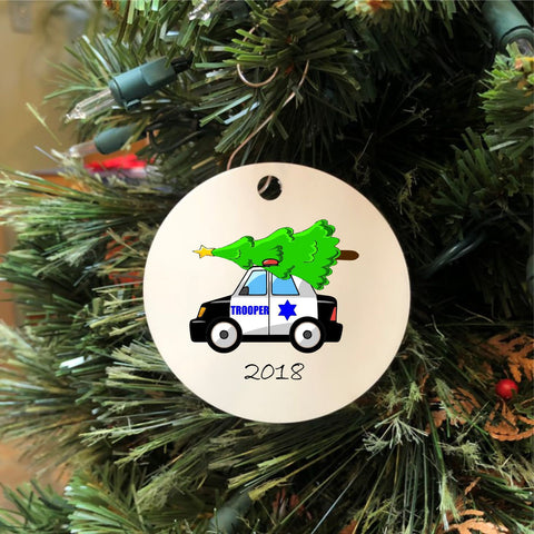 2018 State Trooper Car with Christmas Tree Ornament