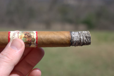image of AJ Fernandez New World Connecticut Belicoso lit cigar