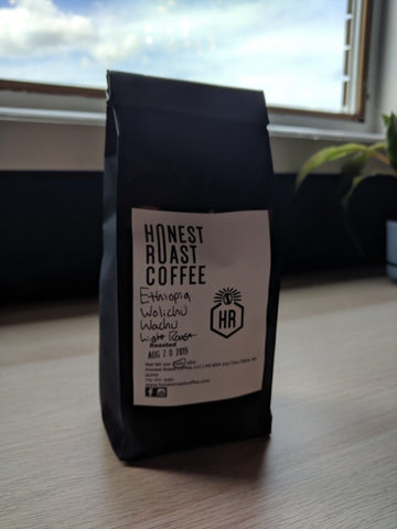 Honest Roast Coffee Ethiopian Wolichu Wachu light roast coffee.