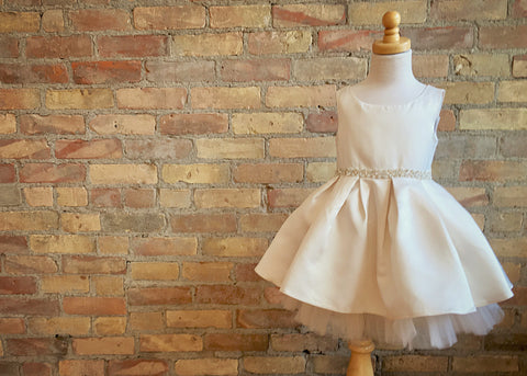 Satin Pocket Dress with Tulle Hem and Rhinestone Sash