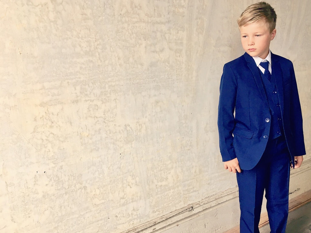 Boys Slim Fit 5-Piece Suit - Multiple Colors Available