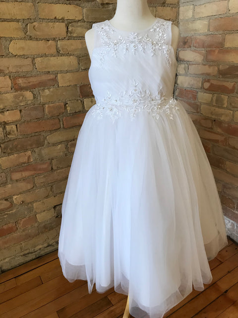 Soft White Dress with Rhinestone Details
