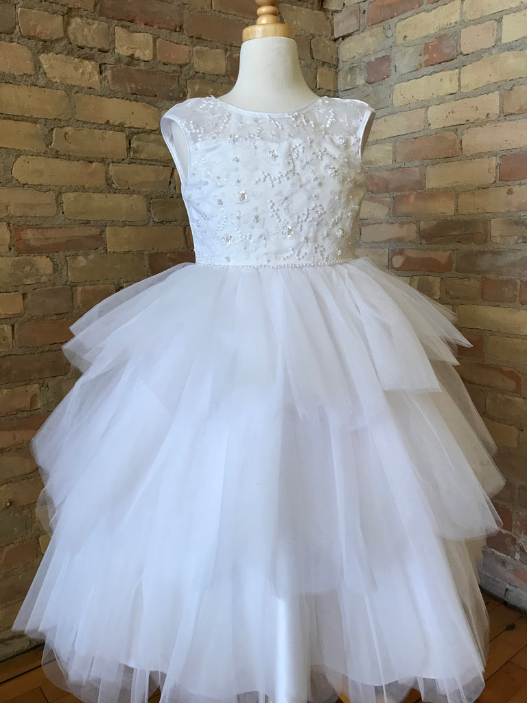 White Dress with Layered Tulle Skirt