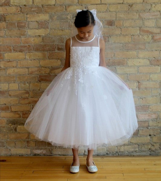 Illusion Neckline Sleeveless Tulle Dress With Floral Detail in White