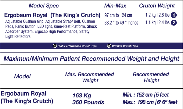 Ergobaum Crutches Specifications and Sizes
