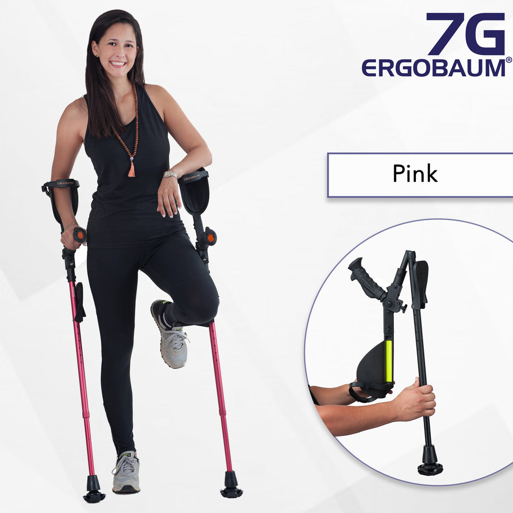 Girl with red forearm crutches
