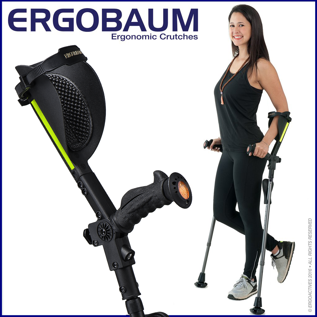 Close-up Forearm Crutch  Black Color By Ergobaum and  with model