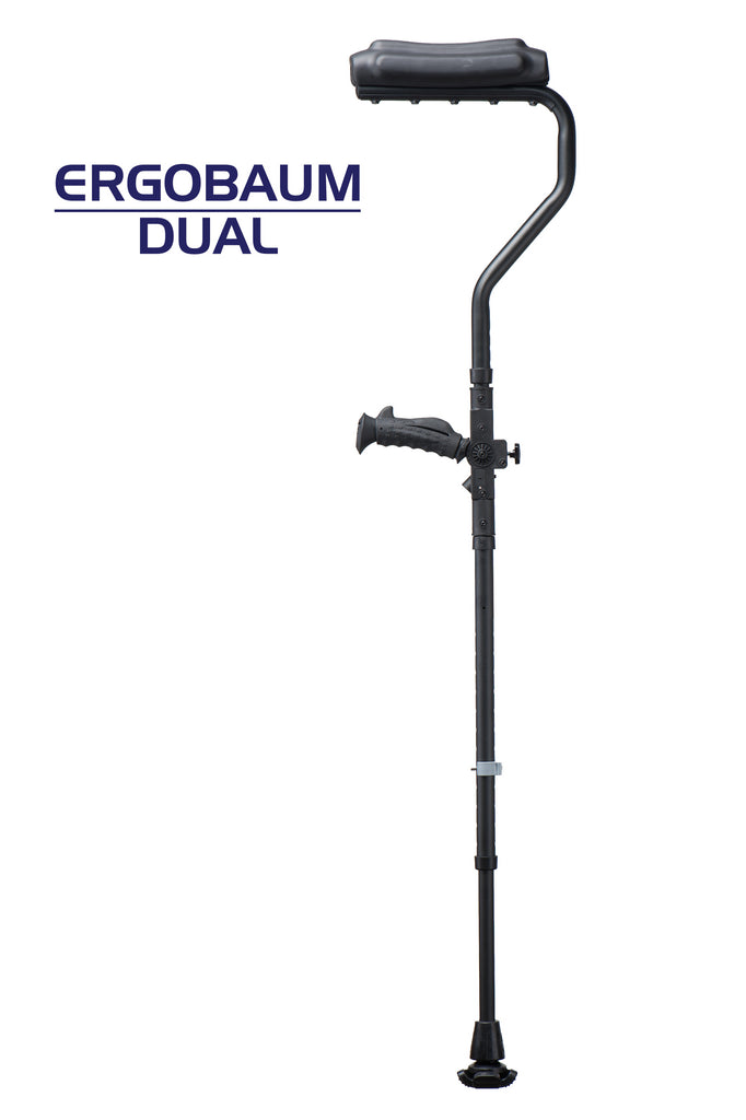 Ergobaum Dual Ergonomic Underarm Crutches (1 Pair) - Double-Function Shock Absorber Underarm Crutches with Arm Support