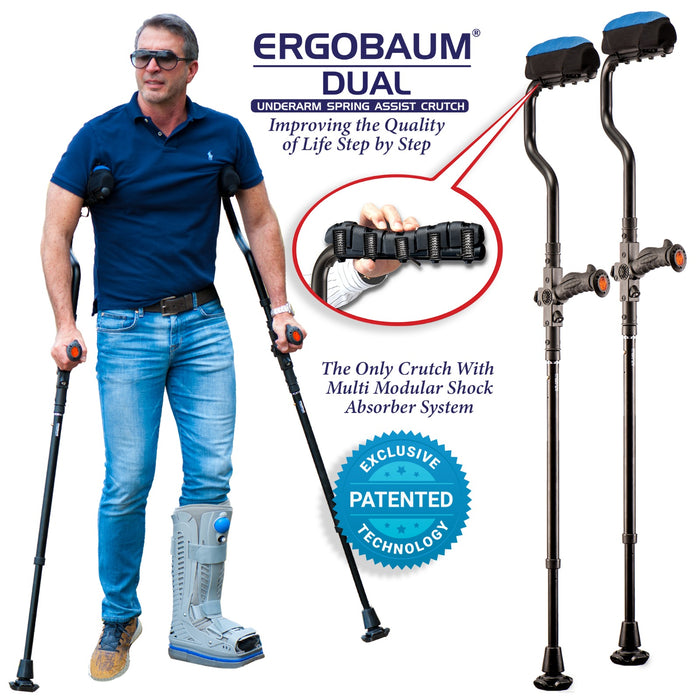 Ergobaum Dual Ergonomic Underarm Crutches (1 Pair) 2 Sizes Available