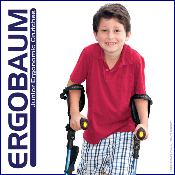 Crutch Being Used By An Smiling Kid - Ergobaum Crutch