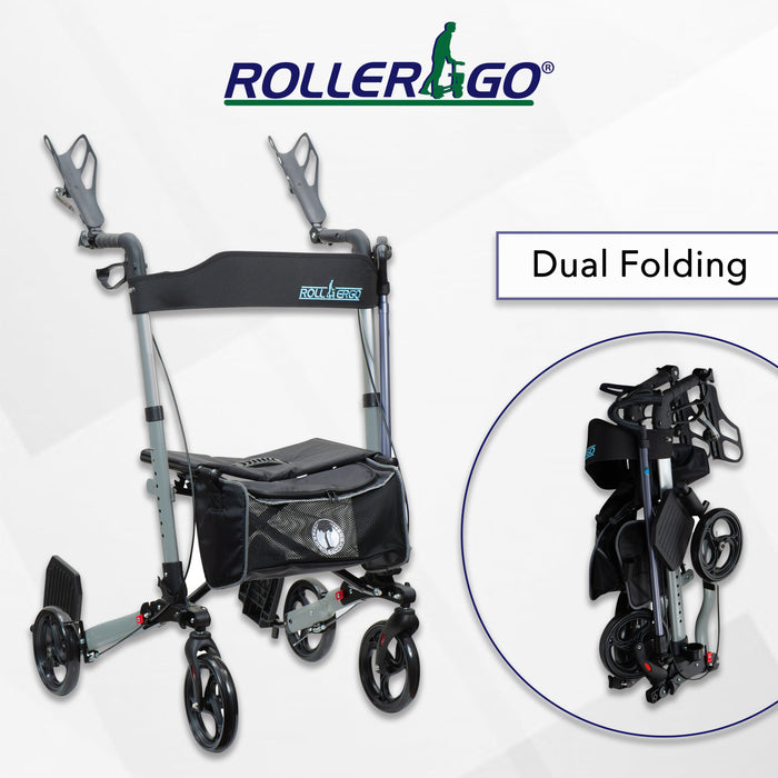 "New Roller-GO ""Perfect Walker"" Double Foldable Adult Mobility Rollator Walker With Forearm Support, Fits In A Bag"