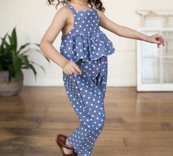 ruffle jumpsuit | denim dot