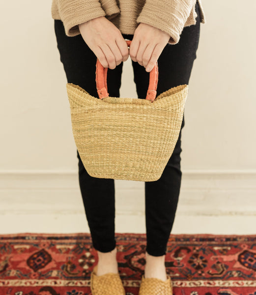 hand basket bag | natural & leather