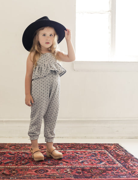 knit ruffle jumpsuit | heather polka dot