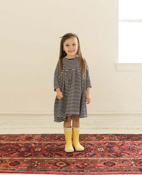 raglan dress | navy stripe