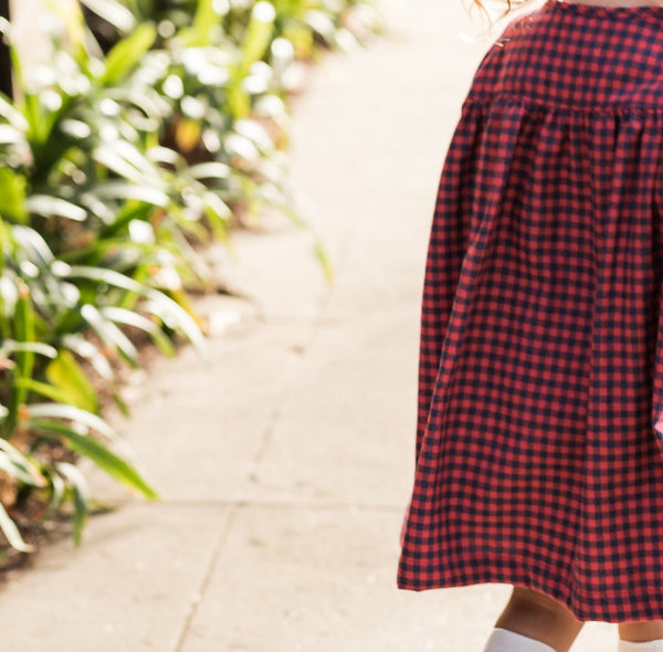 winnie dress | navy & red gingham