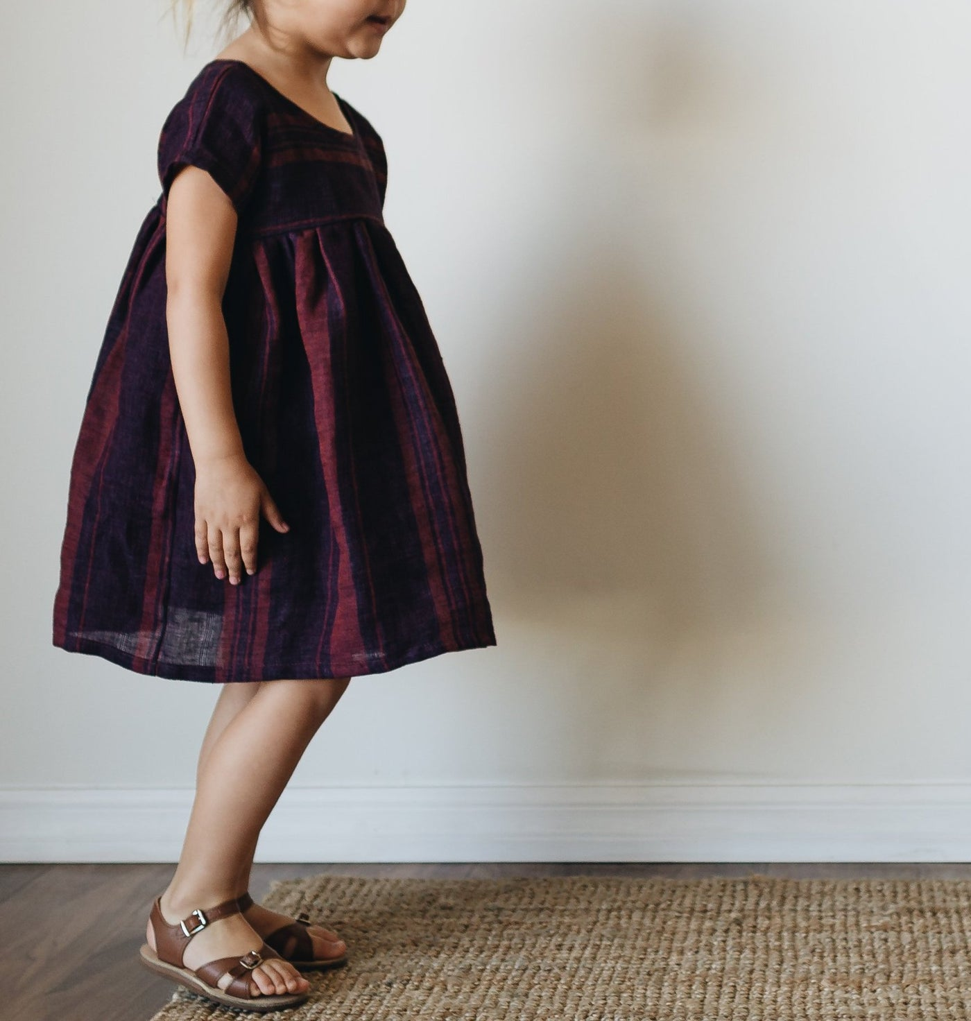etta dress | maroon stripe