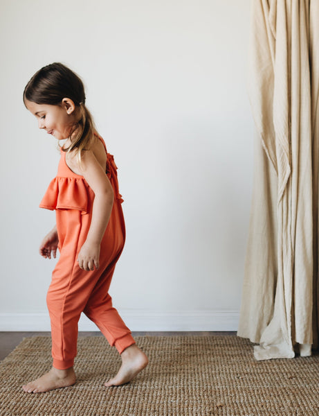 MADE TO ORDER | knit ruffle jumpsuit | coral