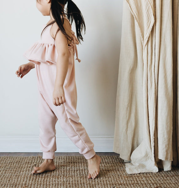 knit ruffle jumpsuit | cherry blossom