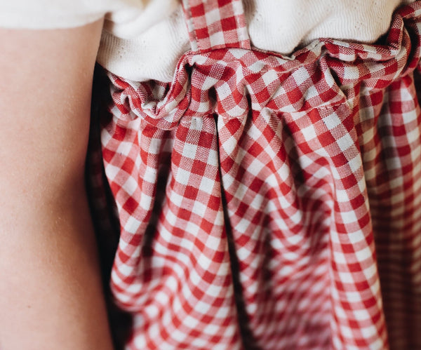 suspender mini skirt | red gingham