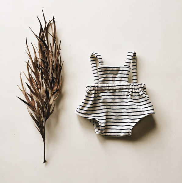 doll | romper | navy stripe