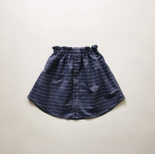 fannie skirt | ooak | chambray stripe | size 4/5y