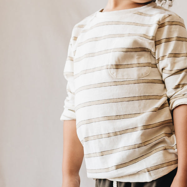 charlie tee | tan stripe