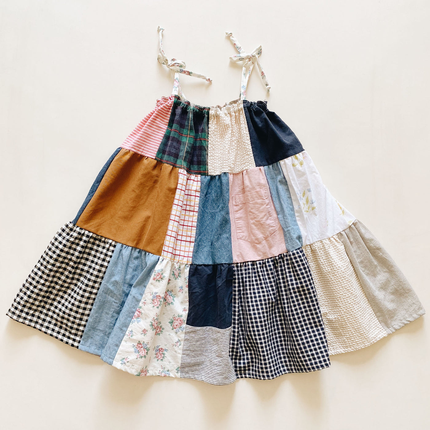 gathered dress | patchwork pink | size 4/5y to 6/7y