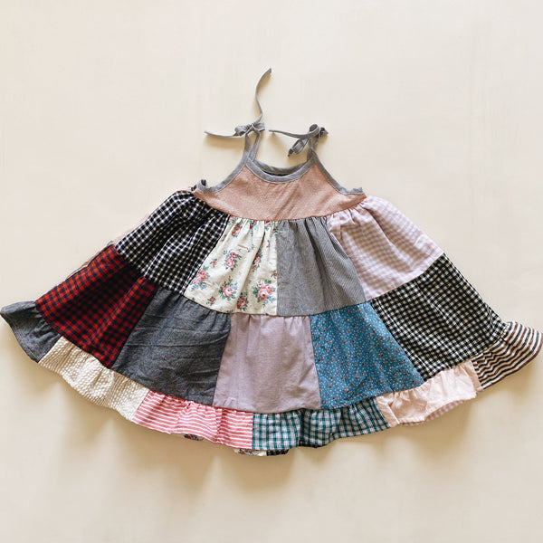 sun dress | patchwork red stripe | size 4/5y