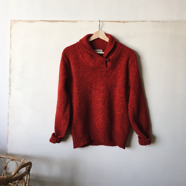 fisherman sweater | marled red | small
